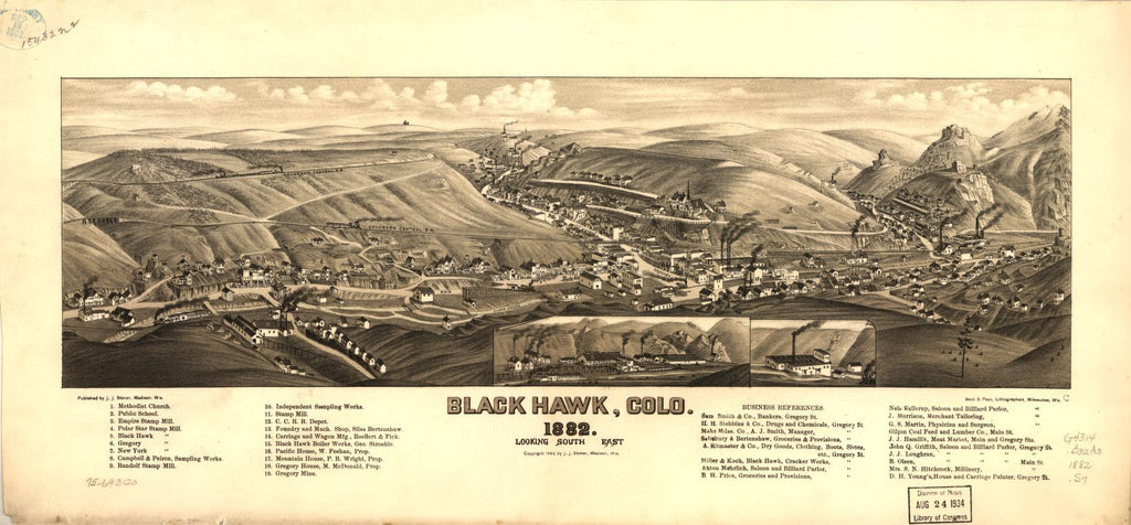 8 x 12 Reproduced Photo of Vintage Old Perspective Birds Eye View Map or Drawing of: Black Hawk, Colo. 1882. Stoner, J. J. c1882