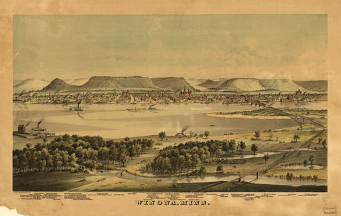 8 x 12 Reproduced Photo of Vintage Old Perspective Birds Eye View Map or Drawing of: Winona, Minn. Ellsbury, Geo. H. 1874