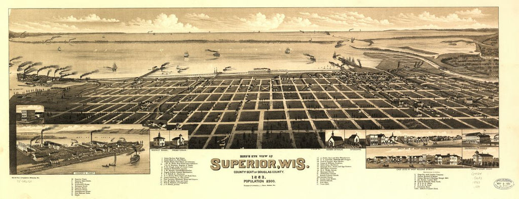 8 x 12 Reproduced Photo of Vintage Old Perspective Birds Eye View Map or Drawing of: Superior, Wis. county seat of Douglas county 1883. Wellge, H. (Henry) 1883