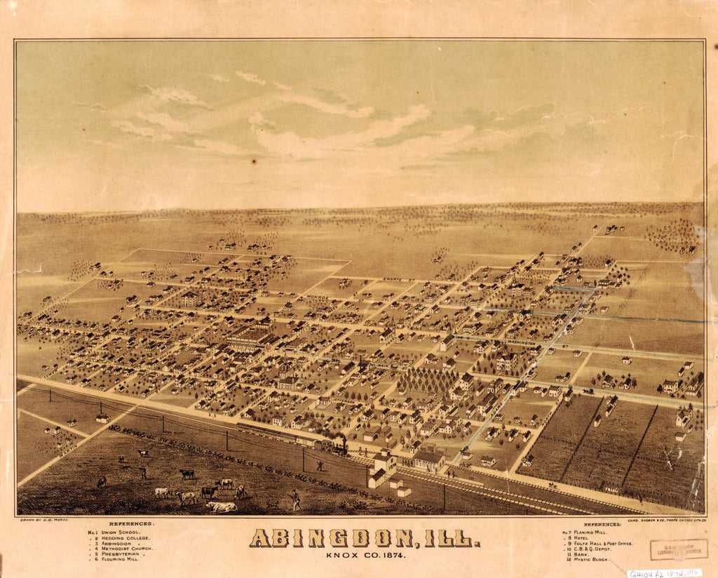 8 x 12 Reproduced Photo of Vintage Old Perspective Birds Eye View Map or Drawing of: Abingdon, Ill., Knox Co., 1874. Morse, D. D. 1874