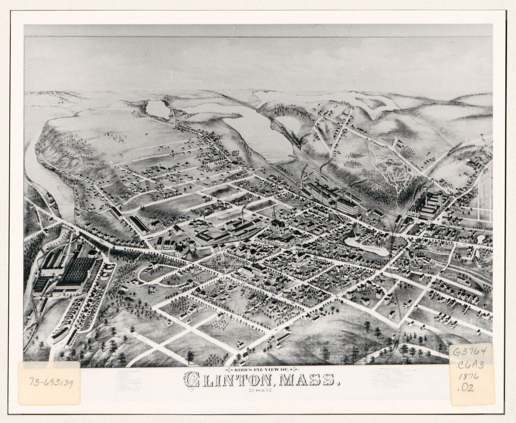 8 x 12 Reproduced Photo of Vintage Old Perspective Birds Eye View Map or Drawing of: Clinton, Mass. 1876.  O.H. Bailey & Co.  1876