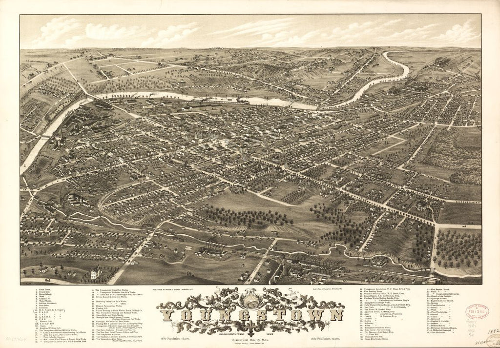 8 x 12 Reproduced Photo of Vintage Old Perspective Birds Eye View Map or Drawing of: Panoramic Youngstown, county seat of Mahoning Co., Ohio 1882. Ruger, A. 1882