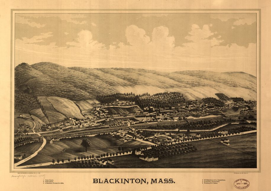 8 x 12 Reproduced Photo of Vintage Old Perspective Birds Eye View Map or Drawing of: Blackinton, Mass.  Burleigh, L. R. (Lucien R.) - Burleigh Litho - Burleigh, L. R.  1889