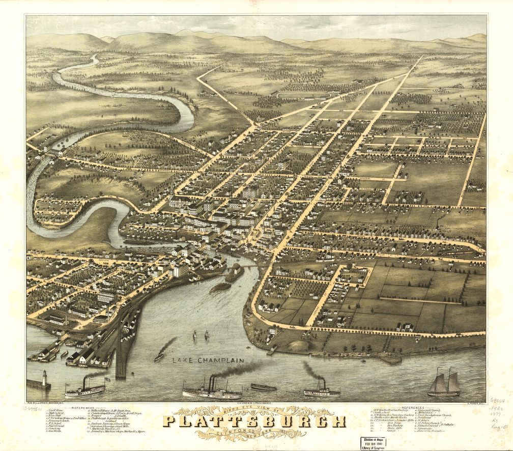 8 x 12 Reproduced Photo of Vintage Old Perspective Birds Eye View Map or Drawing of: Plattsburgh, Clinton Co., New York 1877. Ruger, A. - Stoner, J. J. - C.H. Vogt & Son 1877