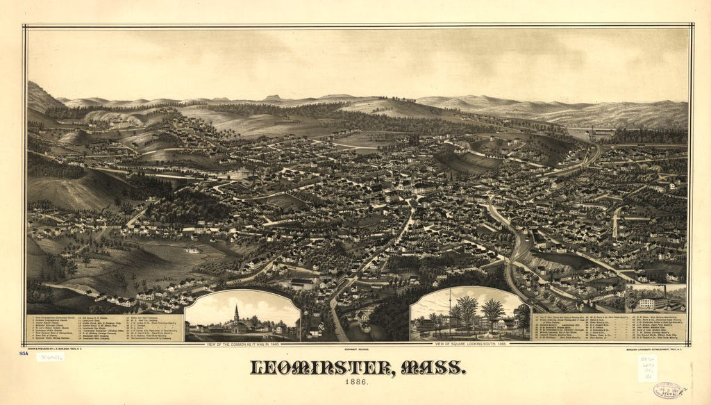 8 x 12 Reproduced Photo of Vintage Old Perspective Birds Eye View Map or Drawing of: Leominster, Mass. 1886.  Burleigh, L. R. (Lucien R.) - Burleigh Litho - Burleigh, L. R.  1886
