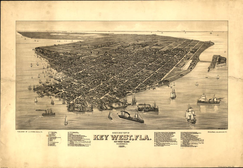 8 x 12 Reproduced Photo of Vintage Old Perspective Birds Eye View Map or Drawing of: Key West, Fla., Key West Island, C.S. Monroe Co., 1884 Stoner, J. J.Wellge, H. (Henry)Beck & Pauli. 1884