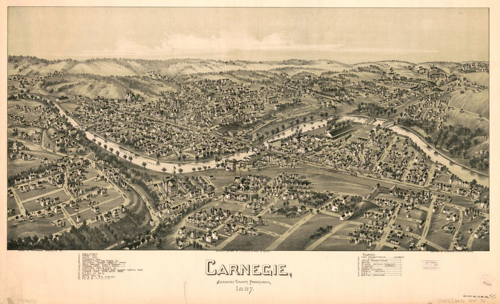 8 x 12 Reproduced Photo of Vintage Old Perspective Birds Eye View Map or Drawing of: Carnegie, Allegheny County, Pennsylvania, 1897. Fowler, T. M. - Moyer, James 1897