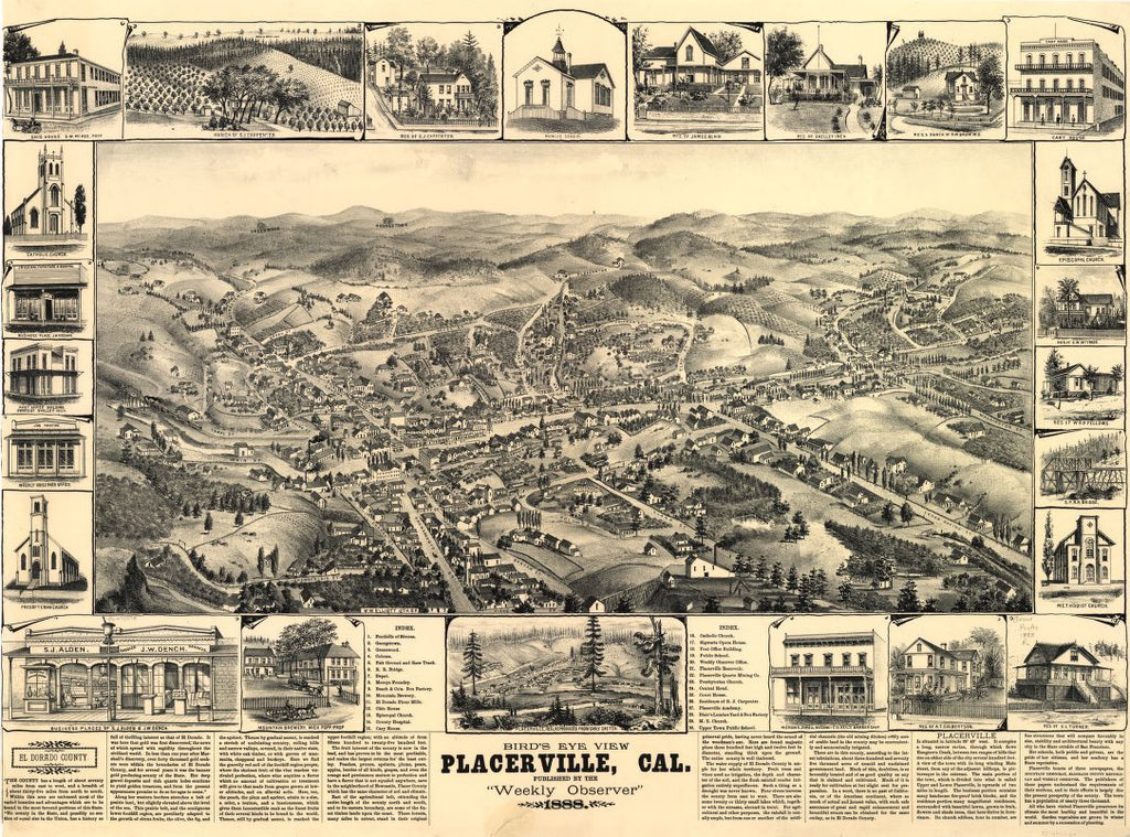 8 x 12 Reproduced Photo of Vintage Old Perspective Birds Eye View Map or Drawing of: view, Placerville, Cal. Roethe, L. 1888