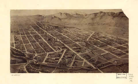 8 x 12 Reproduced Photo of Vintage Old Perspective Birds Eye View Map or Drawing of: [Fort Collins, Colorado] Houghton, Merritt Dana. 1899