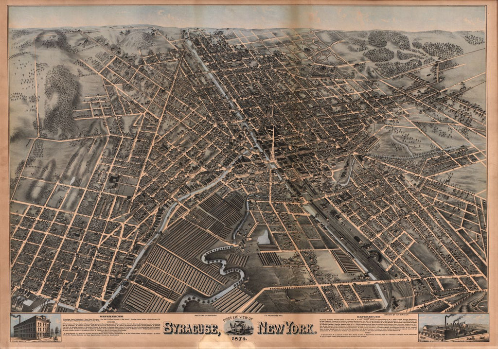 8 x 12 Reproduced Photo of Vintage Old Perspective Birds Eye View Map or Drawing of: Syracuse, New York : 1874 Bailey, H. H. (Howard Heston) - American Oleograph Co. - Bailey, H. H. 1874
