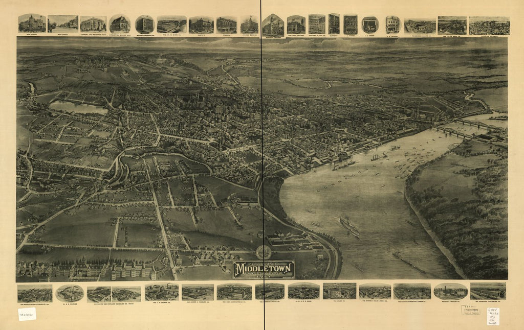 8 x 12 Reproduced Photo of Vintage Old Perspective Birds Eye View Map or Drawing of: Middletown, Connecticut 1915   Fowler, T. M. - Hughes & Bailey - Fowler, T. M.  1915