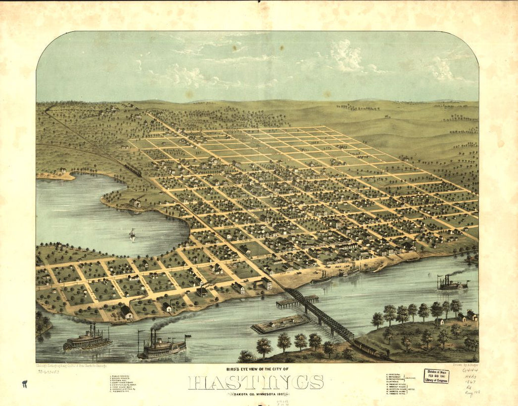 8 x 12 Reproduced Photo of Vintage Old Perspective Birds Eye View Map or Drawing of: Hastings, Dakota Co., Minnesota 1867. Ruger, A. 1867