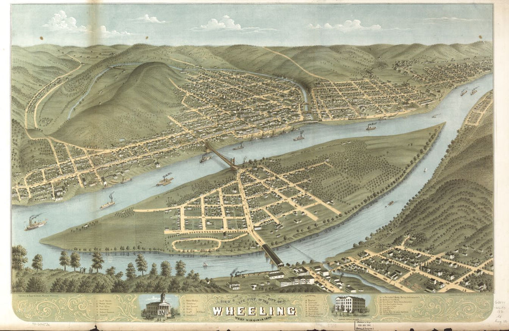 8 x 12 Reproduced Photo of Vintage Old Perspective Birds Eye View Map or Drawing of: Wheeling, West Virginia 1870. [Ruger, A.]Chicago Lithographing Co.Ruger & Stoner. 1870