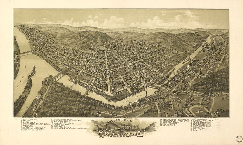 8 x 12 Reproduced Photo of Vintage Old Perspective Birds Eye View Map or Drawing of: Franklin, Pa., 1901. Fowler, T. M. - Moyer, James - Fowler, T. M. 1901