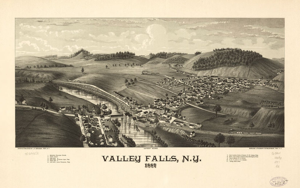 8 x 12 Reproduced Photo of Vintage Old Perspective Birds Eye View Map or Drawing of: Valley Falls, N.Y. 1887. Burleigh, L. R. (Lucien R.) - Burleigh Litho - Burleigh, L. R. 1887