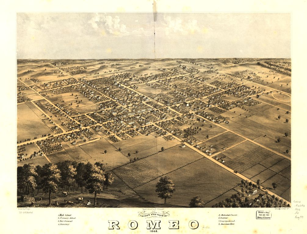 8 x 12 Reproduced Photo of Vintage Old Perspective Birds Eye View Map or Drawing of: Romeo 1868. Ruger, A. 1868