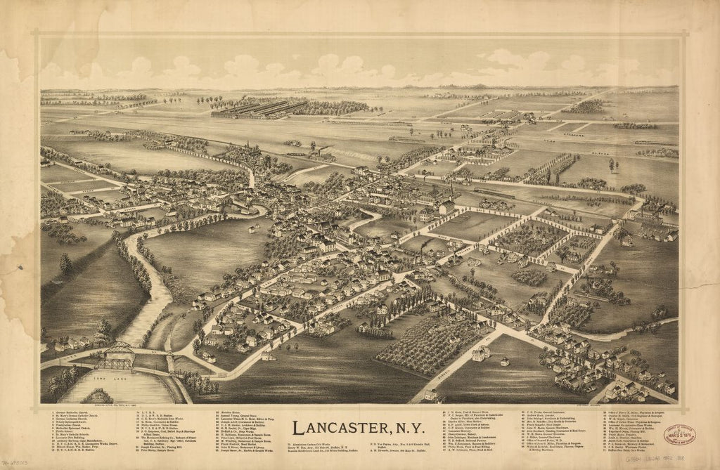 8 x 12 Reproduced Photo of Vintage Old Perspective Birds Eye View Map or Drawing of: Lancaster, N.Y. Burleigh Litho 1892