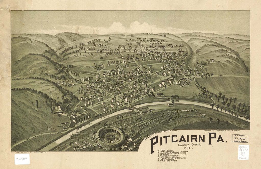 8 x 12 Reproduced Photo of Vintage Old Perspective Birds Eye View Map or Drawing of: Pitcairn, Pa., Allegheny County 1901 Fowler, T. M. - Moyer, James - Fowler, T. M. 1901