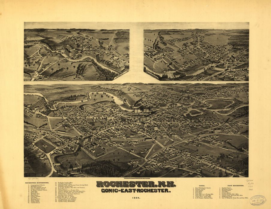 8 x 12 Reproduced Photo of Vintage Old Perspective Birds Eye View Map or Drawing of: Rochester, N.H., Gonic and East-Rochester, 1884.  Wellge, H. (Henry) - Norris & Wellge - Wellge, H.  1884