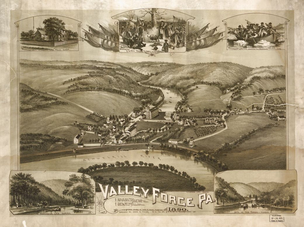 8 x 12 Reproduced Photo of Vintage Old Perspective Birds Eye View Map or Drawing of: Valley Forge, Pa. 1890.  Downs, A. E. (Albert E.) - Moyer, James - Downs, A. E. 1890