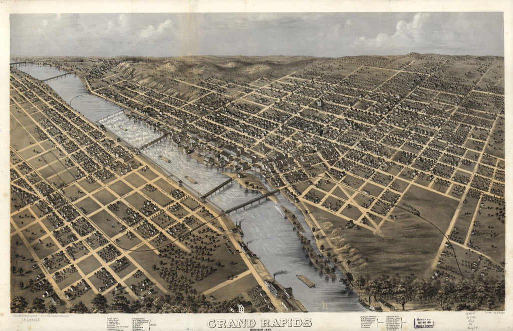8 x 12 Reproduced Photo of Vintage Old Perspective Birds Eye View Map or Drawing of: Grand Rapids, Michigan 1868. Ruger, A. 1868