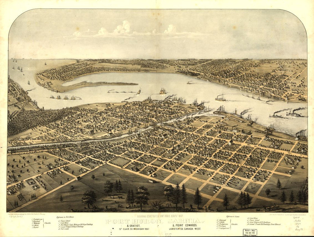 8 x 12 Reproduced Photo of Vintage Old Perspective Birds Eye View Map or Drawing of: Port Huron, Sarnia & Gratiot, St. Clair Co., Michigan 1867 & Point Edwards, Lambton Co., Canada west. Ruger, A. 1867