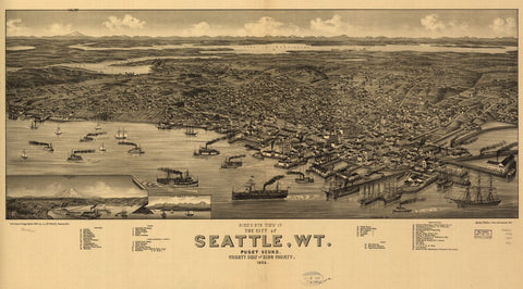 8 x 12 Reproduced Photo of Vintage Old Perspective Birds Eye View Map or Drawing of: Seattle, W.T., Puget Sound, county seat of King County 1884. Wellge, H. (Henry) 1884