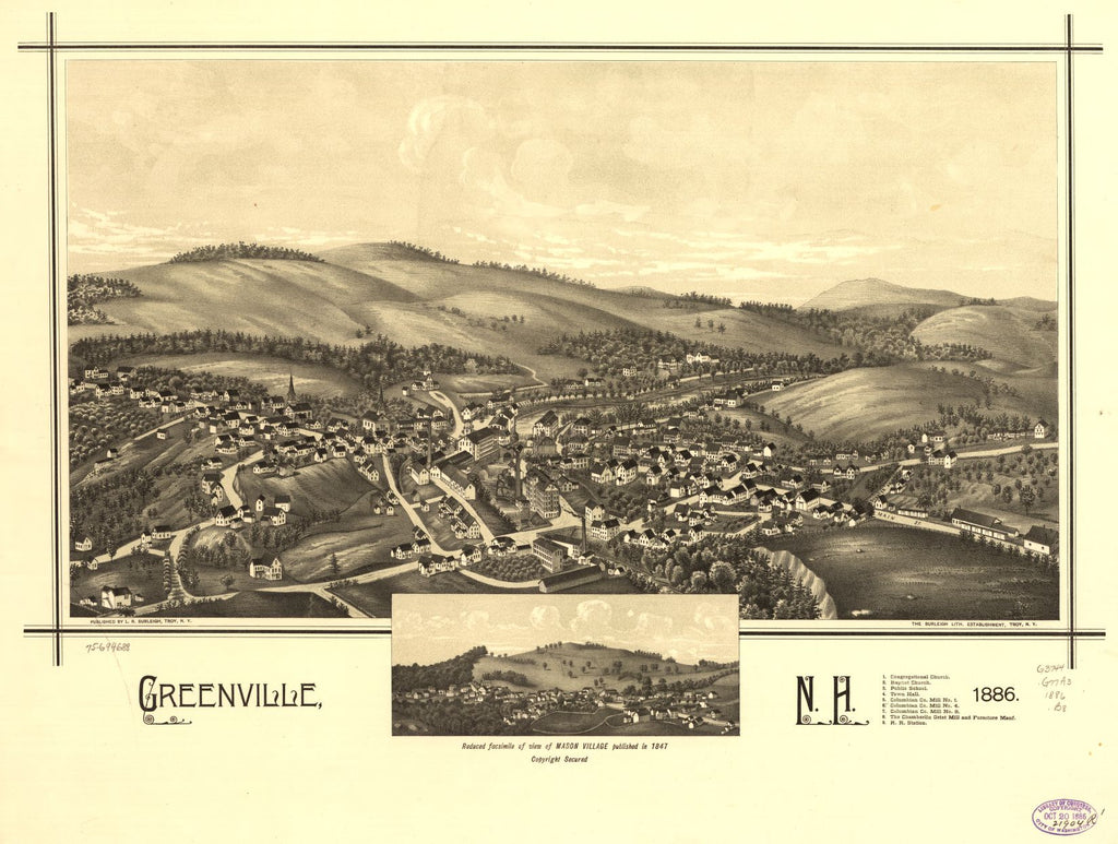 8 x 12 Reproduced Photo of Vintage Old Perspective Birds Eye View Map or Drawing of: Greenville, N.H. 1886.  Burleigh, L. R. (Lucien R.) - Burleigh Litho - Burleigh, L. R. 1886