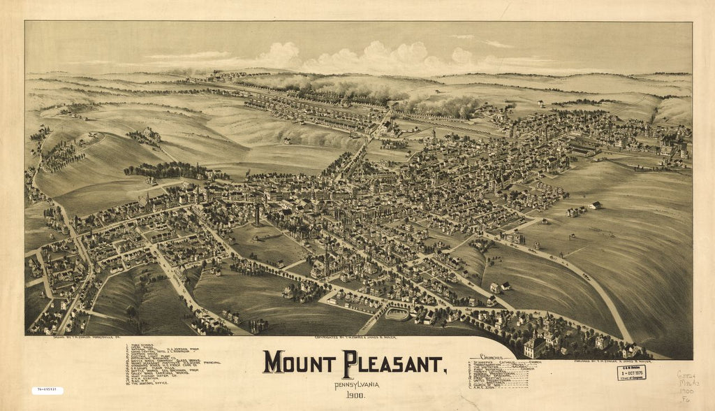 8 x 12 Reproduced Photo of Vintage Old Perspective Birds Eye View Map or Drawing of: Mount Pleasant, Pennsylvania. Fowler, T. M. - Moyer, James - Fowler, T. M. 1900