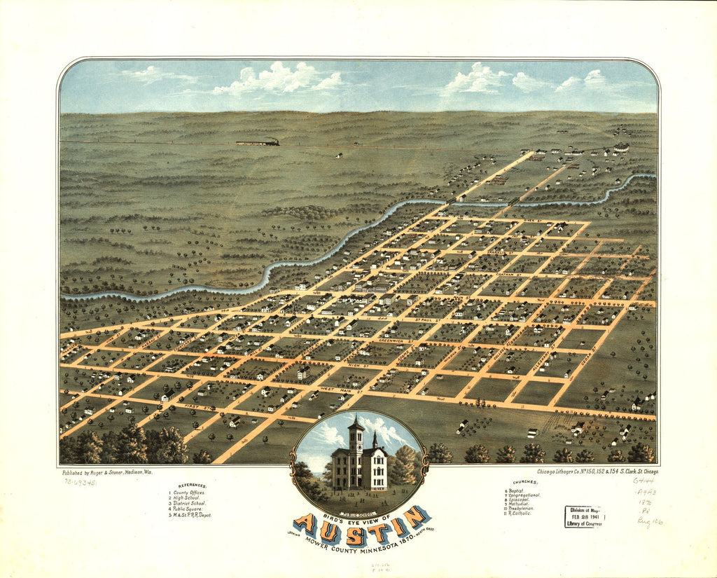 8 x 12 Reproduced Photo of Vintage Old Perspective Birds Eye View Map or Drawing of: Austin, Mower County, Minnesota 1870. Ruger, A. 1870
