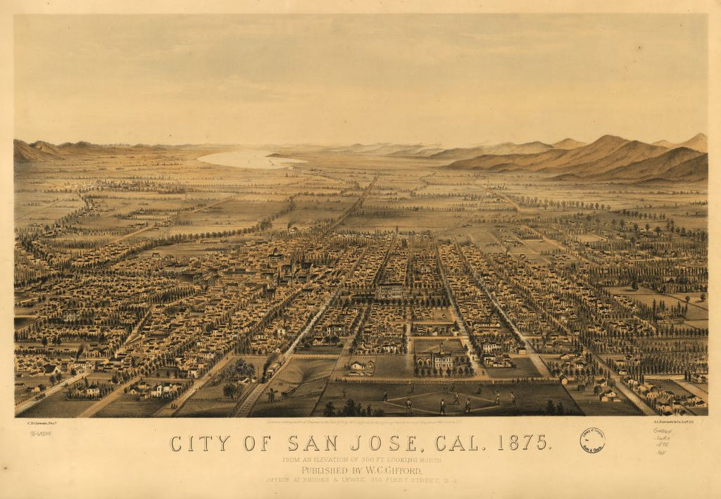 8 x 12 Reproduced Photo of Vintage Old Perspective Birds Eye View Map or Drawing of: San Jose, Cal. 1875. Gifford, Charles B. 1875