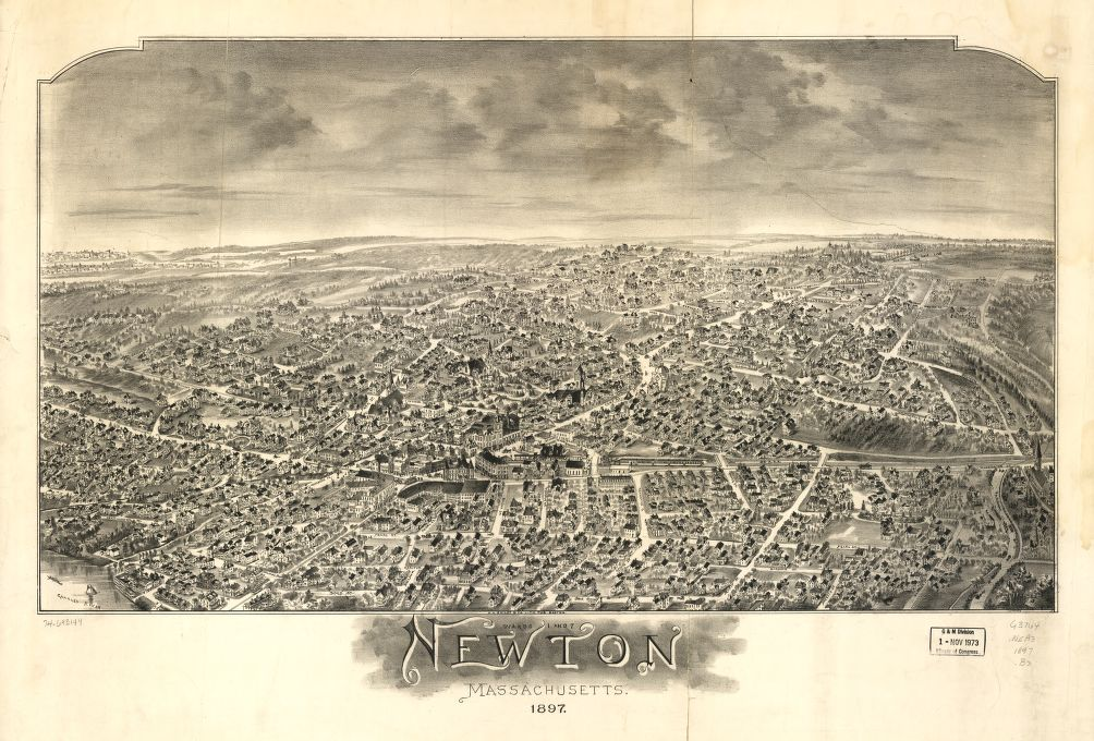 8 x 12 Reproduced Photo of Vintage Old Perspective Birds Eye View Map or Drawing of: Wards 1 and 7, Newton, Massachusetts 1897.  O.H. Bailey & Co.  1897