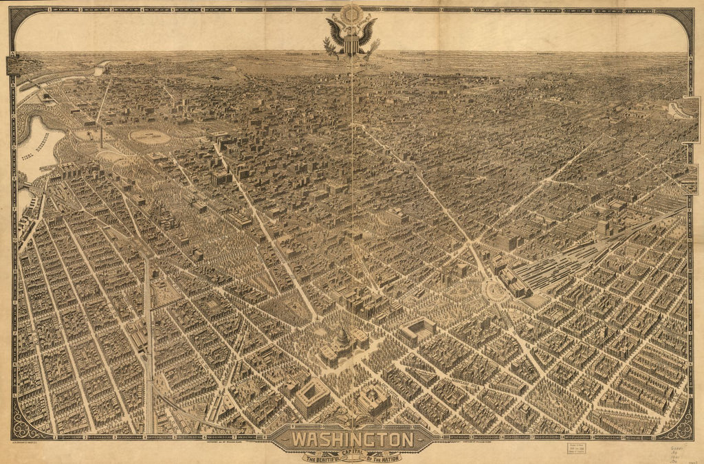 8 x 12 Reproduced Photo of Vintage Old Perspective Birds Eye View Map or Drawing of: Washington, the beautiful capital of the nation Olsen, William 1921
