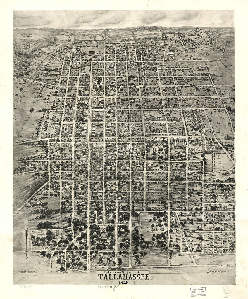 8 x 12 Reproduced Photo of Vintage Old Perspective Birds Eye View Map or Drawing of: Tallahassee 1926. Wynne, James. 1926