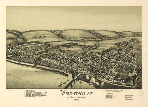 8 x 12 Reproduced Photo of Vintage Old Perspective Birds Eye View Map or Drawing of: Wrightsville, York County, Pennsylvania, 1894.  Fowler, T. M. - Moyer, James - Fowler, T. M. 1894