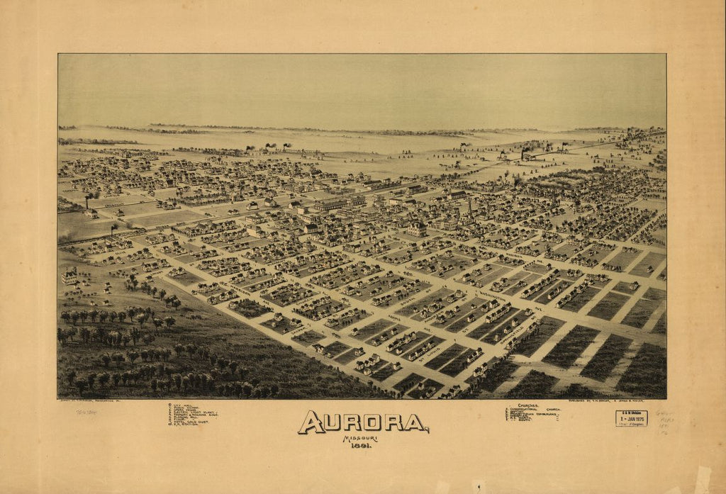 8 x 12 Reproduced Photo of Vintage Old Perspective Birds Eye View Map or Drawing of: Aurora, Missouri 1891. Fowler, T. M. (Thaddeus Mortimer), 1842-1922.Moyer, James B. 1891