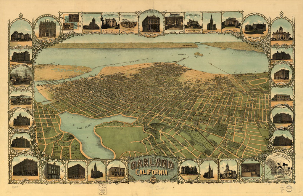 8 x 12 Reproduced Photo of Vintage Old Perspective Birds Eye View Map or Drawing of: Pasadena and vicinity. None 1903
