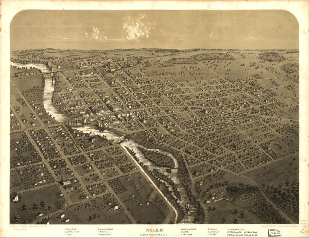8 x 12 Reproduced Photo of Vintage Old Perspective Birds Eye View Map or Drawing of: Niles, Berrien County, Michigan. Ruger, A. 1868?