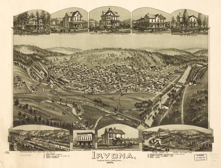 8 x 12 Reproduced Photo of Vintage Old Perspective Birds Eye View Map or Drawing of: Irvona, Clearfield County, Pennsylvania. Fowler, T. M. - Moyer, James - Fowler, T. M. 1895