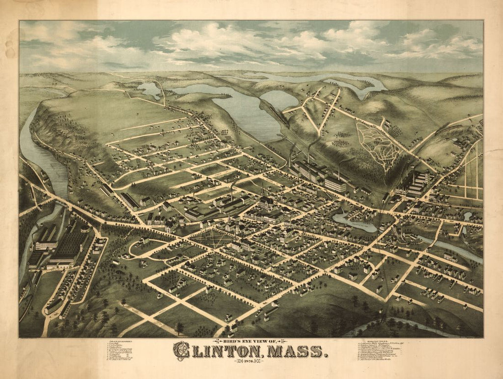 8 x 12 Reproduced Photo of Vintage Old Perspective Birds Eye View Map or Drawing of: Clinton, Mass. : 1876  O.H. Bailey & Co. - C.H. Vogt (Firm) - J. Knauber & Co. 1876