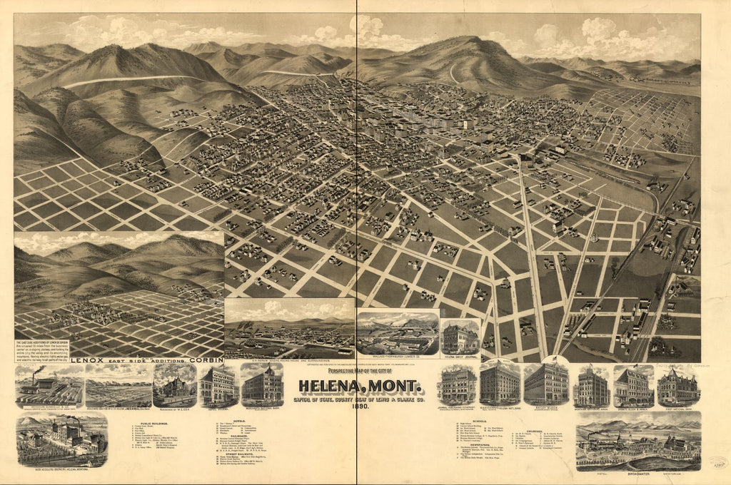 8 x 12 Reproduced Photo of Vintage Old Perspective Birds Eye View Map or Drawing of: Helena, Mont. Capital of State, county seat of Lewis & Clarke Co. American Publishing Co. (Milwaukee, Wis.) 1890