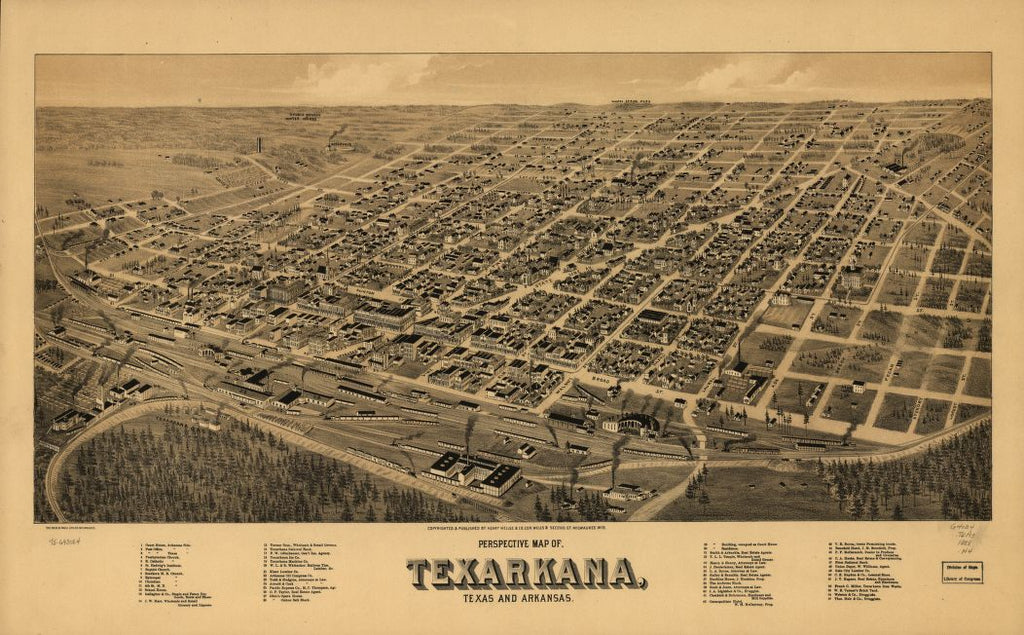 8 x 12 Reproduced Photo of Vintage Old Perspective Birds Eye View Map or Drawing of: Perspective map of, Texarkana, Texas and Arkansas. Henry Wellge & Co. 1888