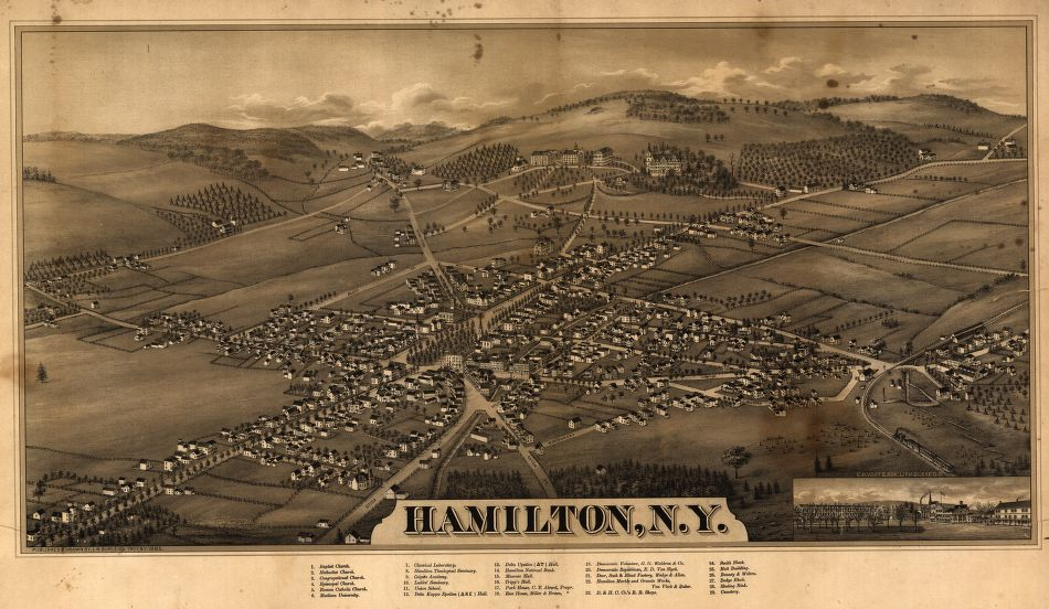 8 x 12 Reproduced Photo of Vintage Old Perspective Birds Eye View Map or Drawing of: Hamilton, N.Y. Burleigh, L. R. (Lucien R.) - C.H. Vogt & Son - Burleigh, L. R. 1885