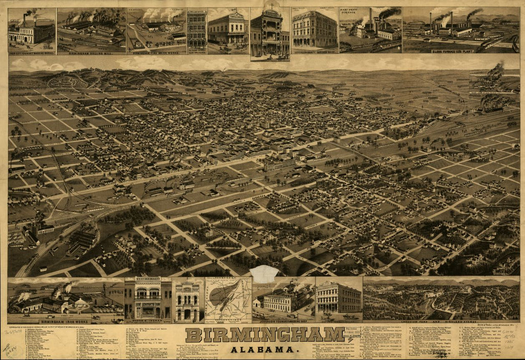 8 x 12 Reproduced Photo of Vintage Old Perspective Birds Eye View Map or Drawing of: Birmingham, Alabama. Wellge, H. (Henry)Beck & Pauli.Norris, Wellge & Co. c1885.