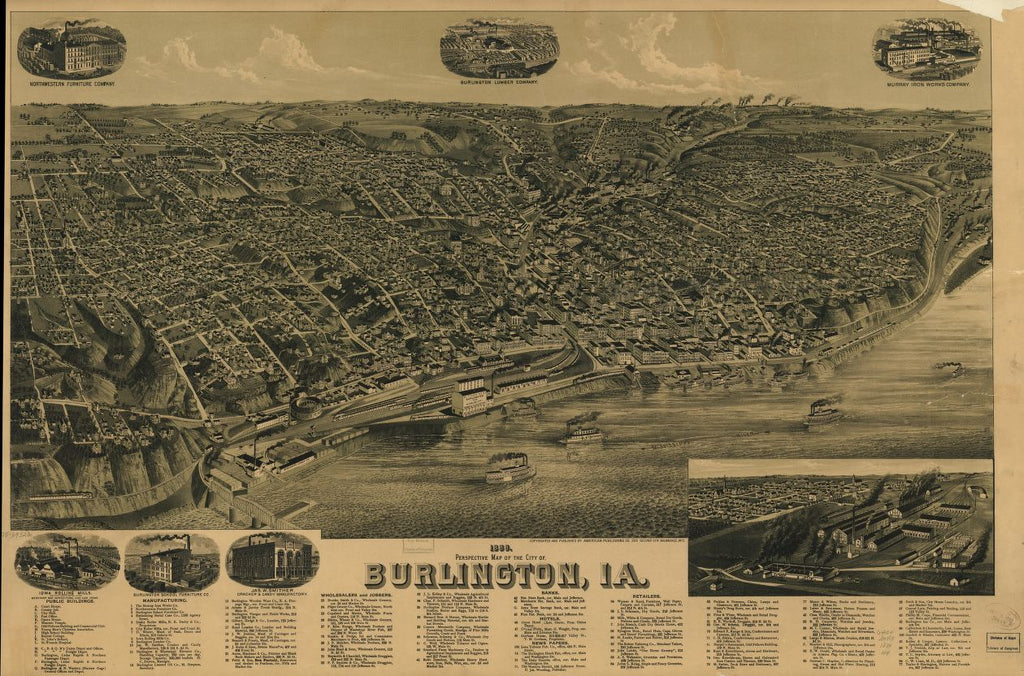 8 x 12 Reproduced Photo of Vintage Old Perspective Birds Eye View Map or Drawing of: 1889 Burlington, Ia. Wellge, H. (Henry) 1889