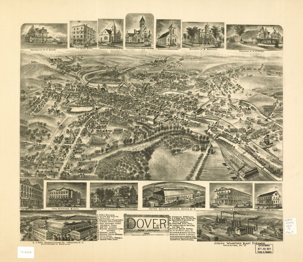 8 x 12 Reproduced Photo of Vintage Old Perspective Birds Eye View Map or Drawing of: Dover, New Jersey 1903. Fowler & Bailey 1903