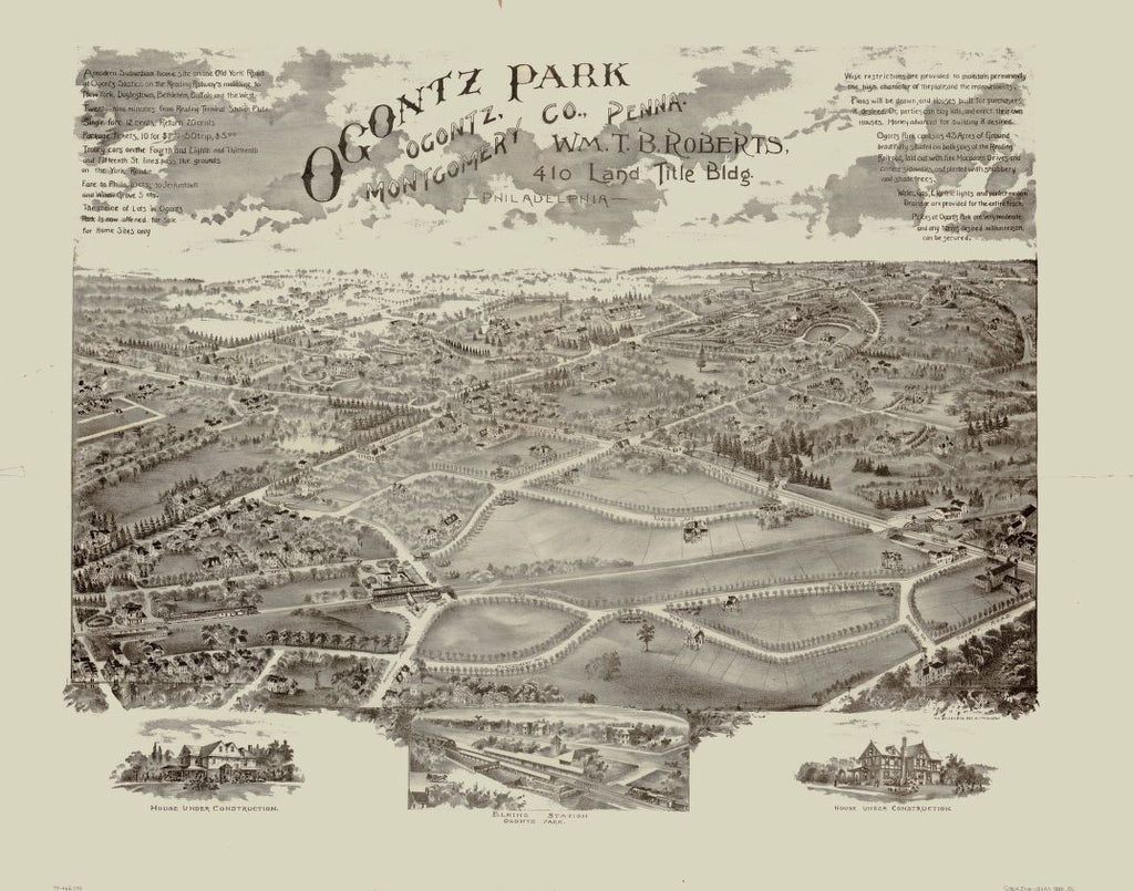8 x 12 Reproduced Photo of Vintage Old Perspective Birds Eye View Map or Drawing of: Ogontz Park, Ogontz, Montgomery Co., Penna. : Wm. T.B. Roberts, 410 Land Title Bldg., Philadelphia O.H. Bailey & Co. 1880