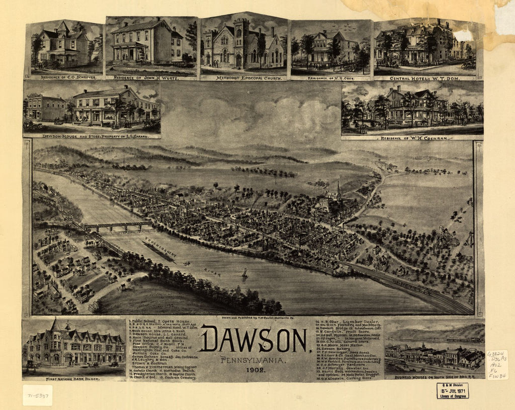 8 x 12 Reproduced Photo of Vintage Old Perspective Birds Eye View Map or Drawing of: Dawson, Pennsylvania 1902 Fowler, T. M. - Fowler, T. M. 1902