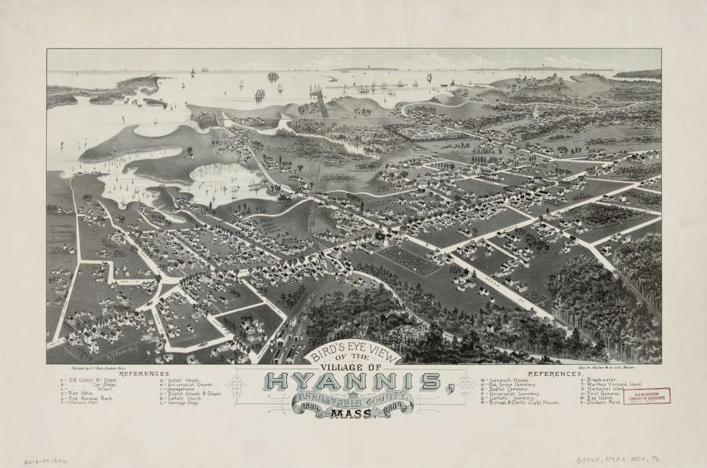 8 x 12 Reproduced Photo of Vintage Old Perspective Birds Eye View Map or Drawing of: Hyannis, Barnstable County, 1884 Mass. 1884.  Poole, A. F. - Geo. H. Walker & Co 1884