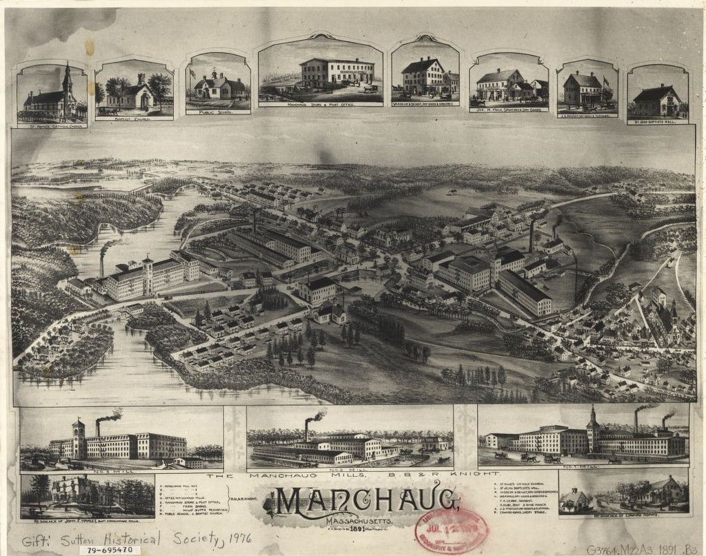 8 x 12 Reproduced Photo of Vintage Old Perspective Birds Eye View Map or Drawing of: Manchaug, Massachusetts  O.H. Bailey & Co.  1891